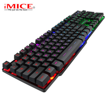 цена на iMice Gaming Keyboard with Backlight 104 Key Gamer Keyboard Mechanical Feel Game Backlit Keyboards with RU Sticker for PC Laptop