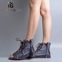 Prova Perfetto Peep Toe Tassels Decoration Summer Boots Shoes Cross Tied Hollow Out Patchwork Muffin Shoes Women Falt Sandals