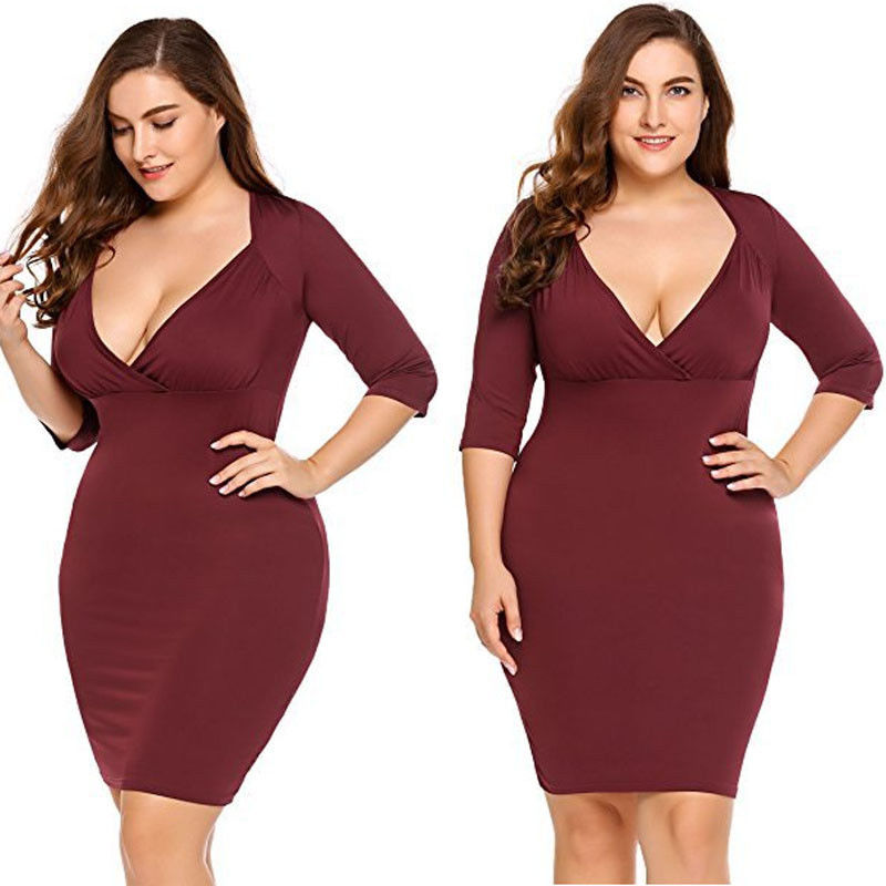 Plus Size Women s Knee length Party Prom Gown Formal Bridesmaid Half Sleeve V neck Pencil
