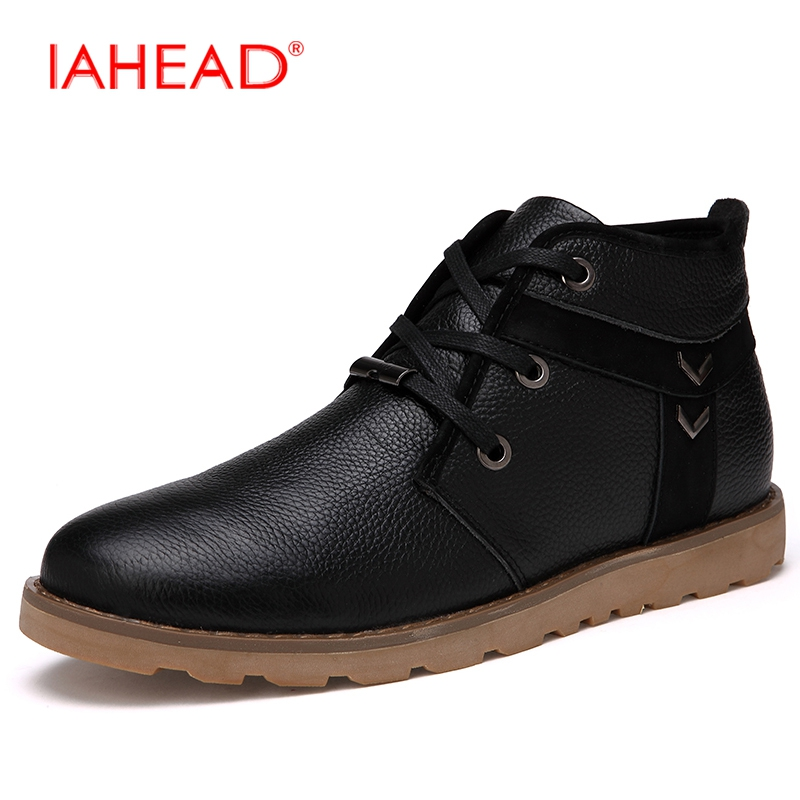 IAHEAD Men Boots Genuine Leather Flats Casual Shoes Men Winter Chelsea Boots Soft Comfortable Work Shoes bota masculina MH595 iahead men boots men chelsea boots winter lace up flats casual shoes men leather ankle boots chaussure homme de marque mh598