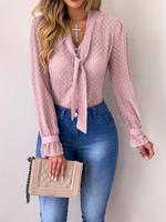 2019 Summer Women Elegant Brief Mesh Pink Basic Office Work Style Leisure Blouse Tied Button Detail Dots Casual Shirt Blouses