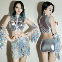 Sequins Night Show New DS Performance Dress Silver Glossy Nar Gogo Dress Tassel Nightclub DJ Stage Costume Dance
