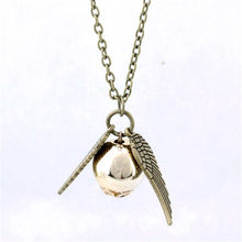 Golden Globe sacred chant charm pendant necklace selling bronze ancient silver Snitch and the Deathly(China)
