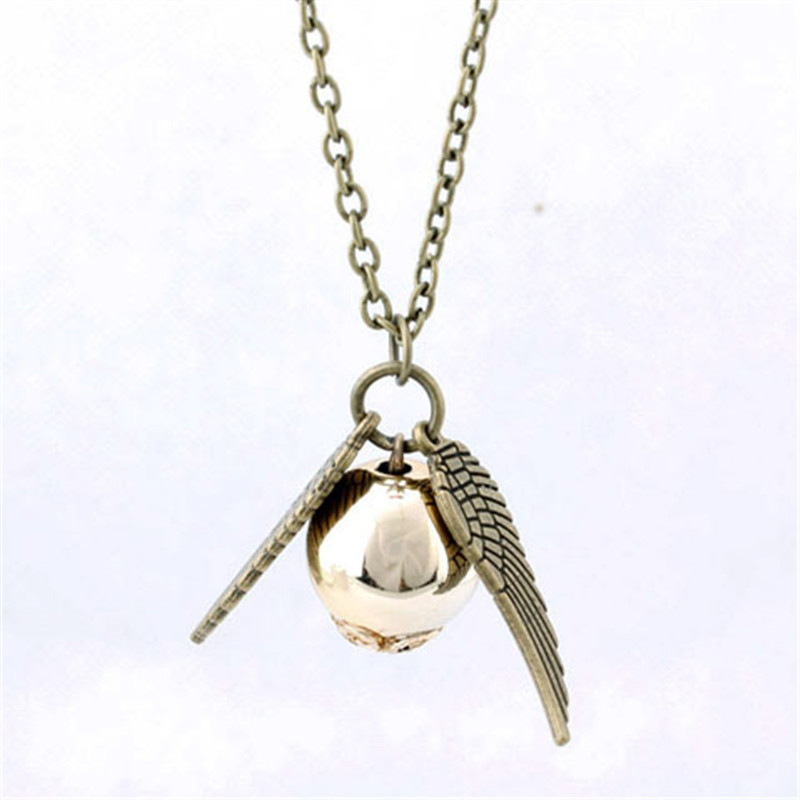 Golden Globe sacred chant charm pendant necklace selling bronze ancient silver Snitch and the Deathly