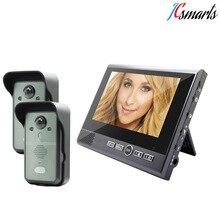 Kivos KDB700 2v1 video door phone 2.4G wireless intercom interphone visiophone with 2 outdoor cameras for 2 doors monitor