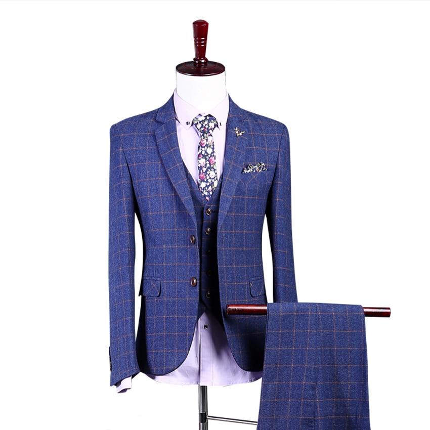Cooperative Plaid Suit Damier Check Dinner Suit Plaid Man Blazers For Groom Tuxedos Groomsman Suit 2 Buttons Wedding Suit Jacket+pants+vest Attractive And Durable