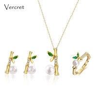 Vercret 925 conjunto de jóias de prata esterlina de água doce pérola colar brinco set anel 18 k de ouro jóias mulheres presente de bambu delicado