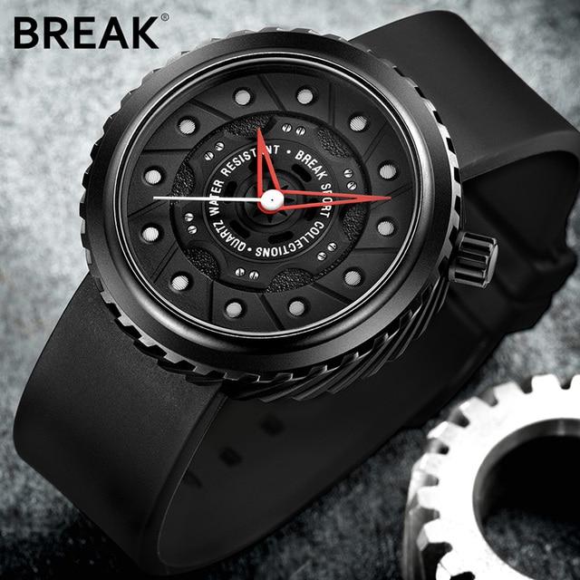 BREAK Men Quartz Sport Watches Man Casual Fashion Rubber Leather Strap Top Luxury Brand Waterproof Geek Unique Gift Wristwatch 2