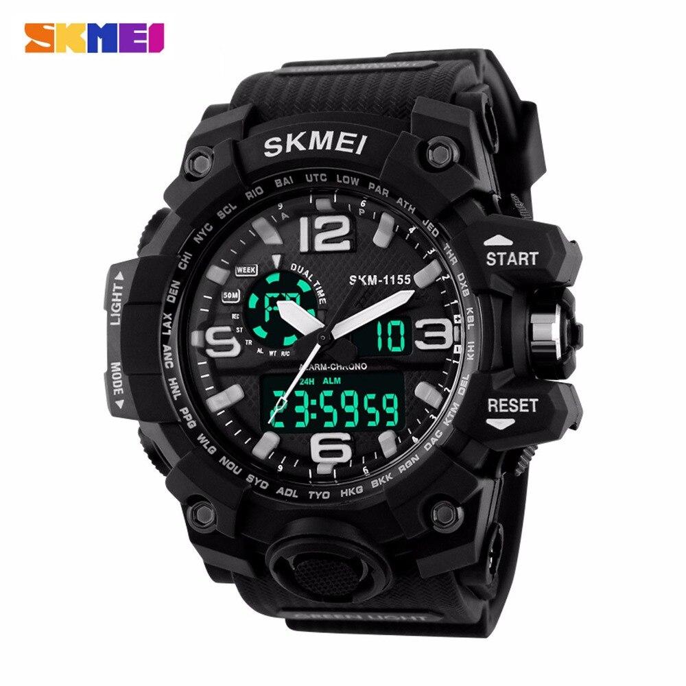 SKMEI Для мужчин большой циферблат шок Открытый спортивные часы цифровой светодиодный 50 м Водонепроницаемый в стиле милитари часы, будильник,...