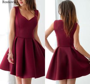 Image 1 - 부르고뉴 짧은 댄스 파티 드레스 2020 v 넥 사이드 지퍼 무릎 길이 동창회 파티 드레스 vestido de fiesta cheap customized