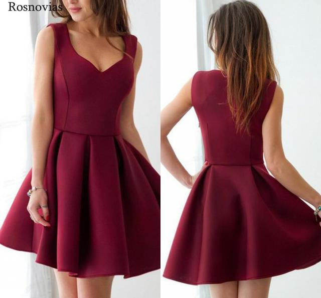 부르고뉴 짧은 댄스 파티 드레스 2020 v 넥 사이드 지퍼 무릎 길이 동창회 파티 드레스 vestido de fiesta cheap customized