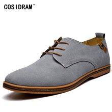 6fea4799c COSIDRAM Замшевые мужские повседневные туфли мягкая резиновая подошва  мужские кроссовки модная обувь для мужчин обувь плюс