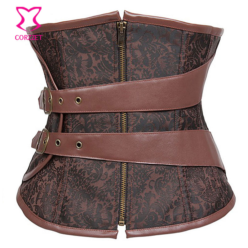 Steampunk Brown Brocade With Leather Belt Corselet Underbust Gothic Corset For Slimming Waist Corsets and Bustiers Steel Boned