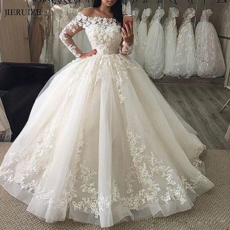 JIERUIZE White Lace Appliques Off The Shoulder Ball Gown Wedding Dresses Long Sleeves Princess Wedding Gowns robe mariage-in Wedding Dresses from Weddings & Events