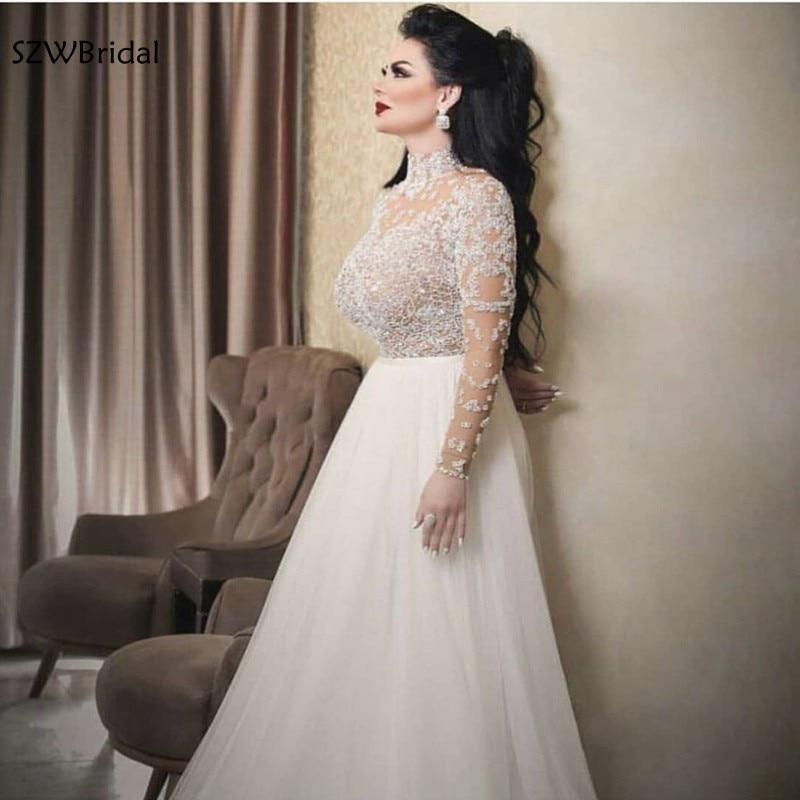 New Arrival Long sleeve Evening dress 2019 Chiffon Prom evening gown Galajurk robe de soiree courte Arabic evening dresses