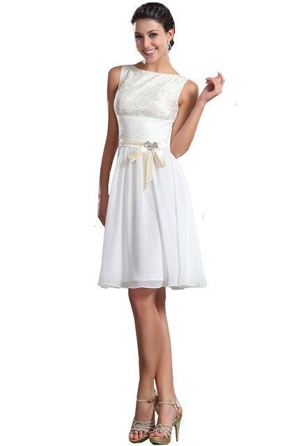 a6ec89693 MDBRIDAL Hasta La Rodilla Modest Mujeres Vestido Blanco de Encaje de Gasa Corto  Vestido de Fiesta