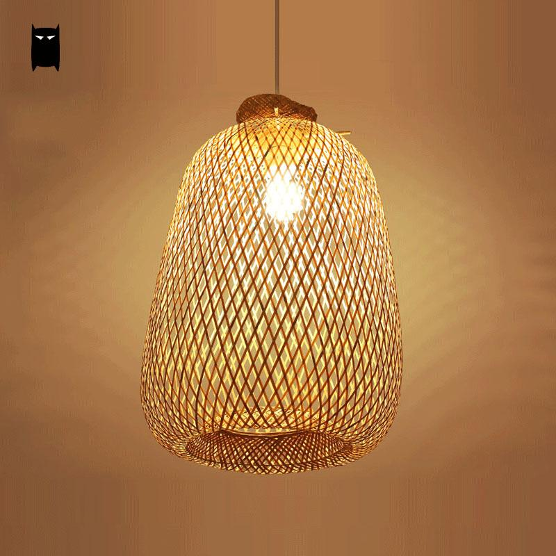 bamboo wicker rattan bag pendant light fixture rustic asian chinese style hanging lamp avize. Black Bedroom Furniture Sets. Home Design Ideas