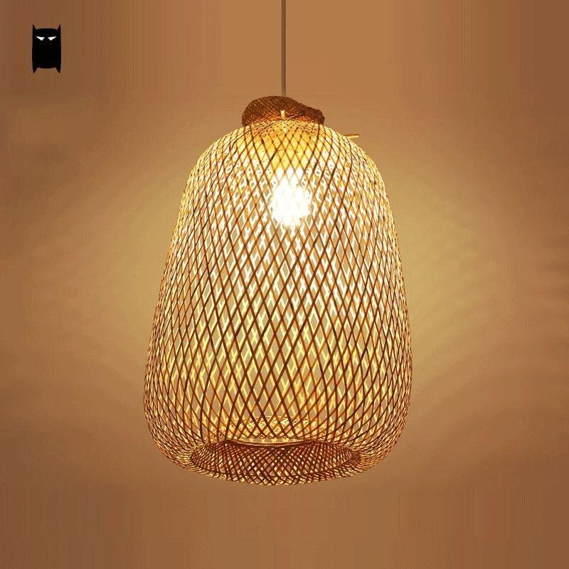 Lamps Plus Sacramento Ca: Bambou En Osier Rotin Sac Pendentif Luminaire Rustique