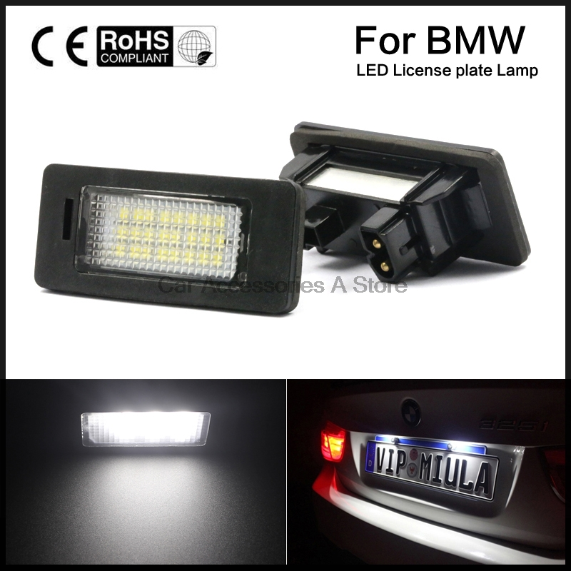 A Pair License Plate Lights Lamps Bulbs 6000K Cool White For BMW E82 E90 E92 E93 M3 E39 E60 E70 X5 2pcs set led license plate light error free for bmw e39 e60 e61 e70 e82 e90 e92 24smd xenon white free shipping