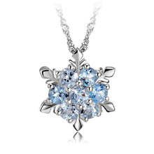 Elegant Zircon Snowflake Pendant Necklace Jewelry Fashion Christmas New Year Gifts For Women CX17