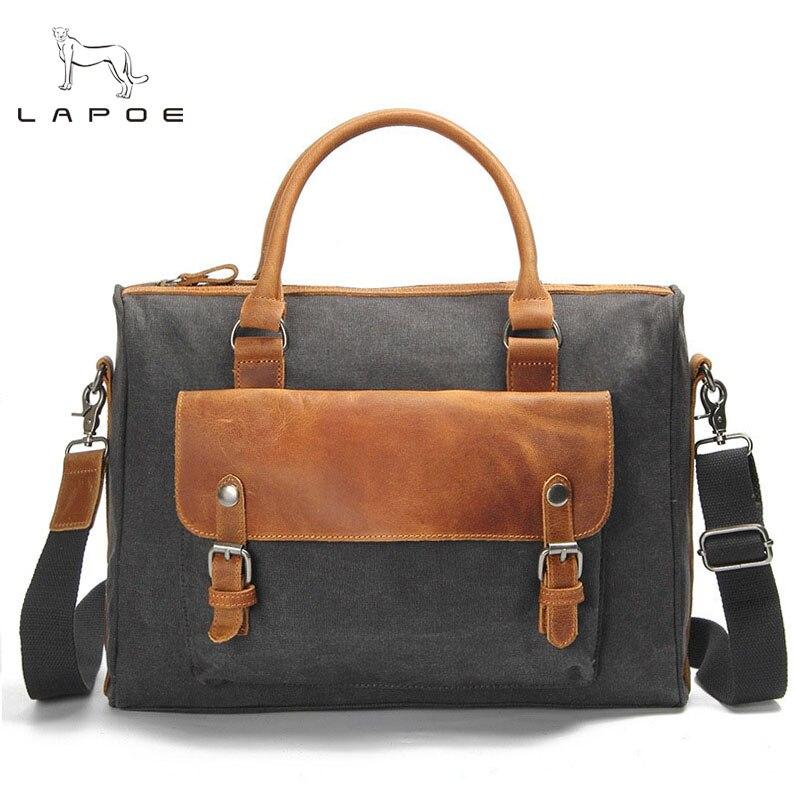 LAPOE 2018 Vintage Military Canvas Leather Men's Briefcase Business Bag Canvas Briefcase Men shoulder bag Crossbody Bag