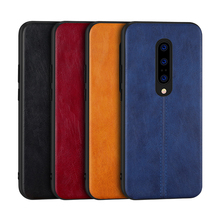 Oneplus 7 pro vintage scratch-resistant PU leather grain simple car line TPU soft rubber edge oneplus 6T phone case