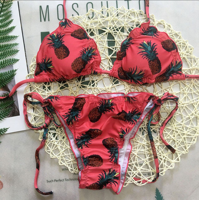 Conjunto de Bikini ajustado push-up acolchado sujetador traje de baño girasol piña fresa estampado Mujer Biquini