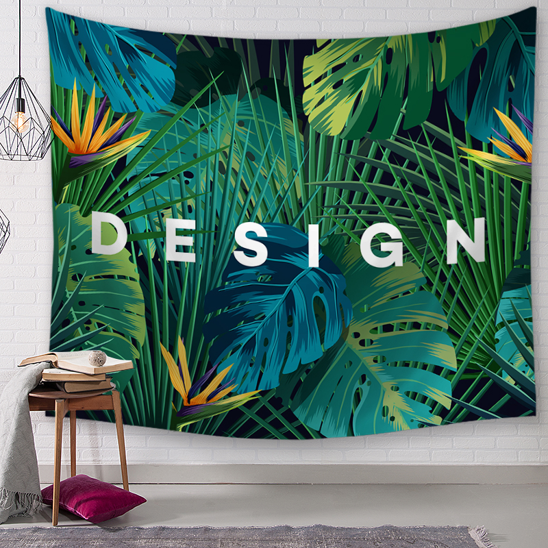 Green plants and text Hanging Wall Tapestries Mandala Bohemian Tapestry Landscape Wallpaper Wall Art Shawl Throw image