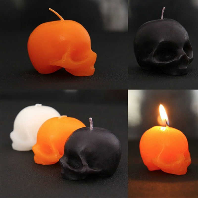 Bleeding skull candle crying candles Halloween Small smokeless Skeleton terror candle Red Brain inside Skull Candle 1 PC