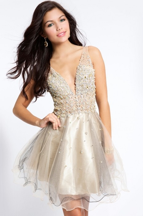 Sexy Mini Cocktail Dresses  V-Neck Backless Cap Sleeve Crystal Chiffon Back Evening Gowns Party Prom