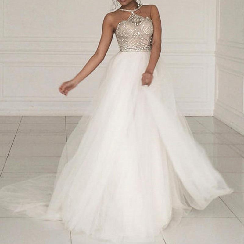 Backles Beaded   Evening     Dresses   Halter Off Shoulder Elegant Long   Evening     Dress   Crystals abendkleider vestidos de festa longo