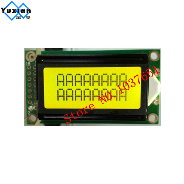 US $7 48 |free ship 2PCS lcd display panel mini small 0802 8x2 green screen  14pin 5v pcb size :58*32mm HD44780-in Screens from Consumer Electronics on