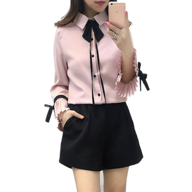 Fashion Turn-down Collar Bow Shirt Women Elegant Ladies Tops Long Flare Sleeve Chiffon Blouse White Blusas Mujer Autumn Clothing