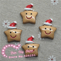 Christmas flat back star with hat resin cabochon crafts 24*27mm 50pcs/lot