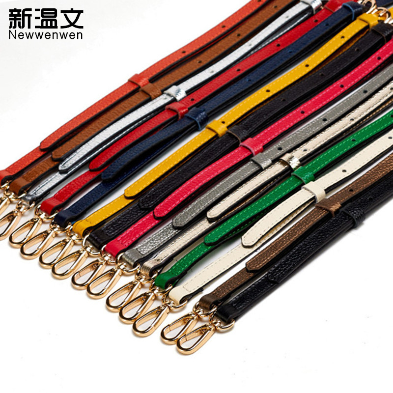 DIY Shoulder Straps for handbags Genuine Leather Wallet Leather Strap Handle Replace Strap bag Gold Buckle parts 130*1.2cm  JD01 6 pcs lot diy hardware plating processing leather handbags straps on both sides of the chain belt buckle decorative accessori