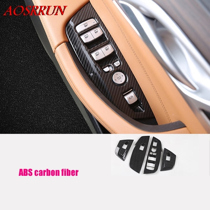 car-styling fit For <font><b>BMW</b></font> <font><b>X3</b></font> G01 <font><b>2017</b></font> 2018 2019 Car Inner Door Armrest Window Lift Button Cover Kit Trim LHD car <font><b>Accessories</b></font> 4PCS image