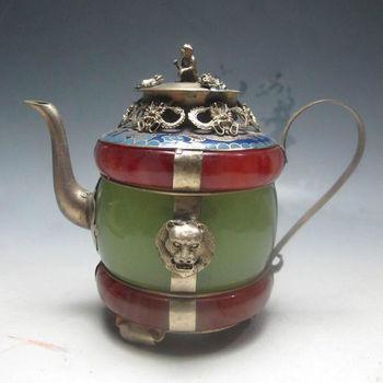 Maceta de té de dragón de plata de Tibet de Cloisonne con decoración antigua