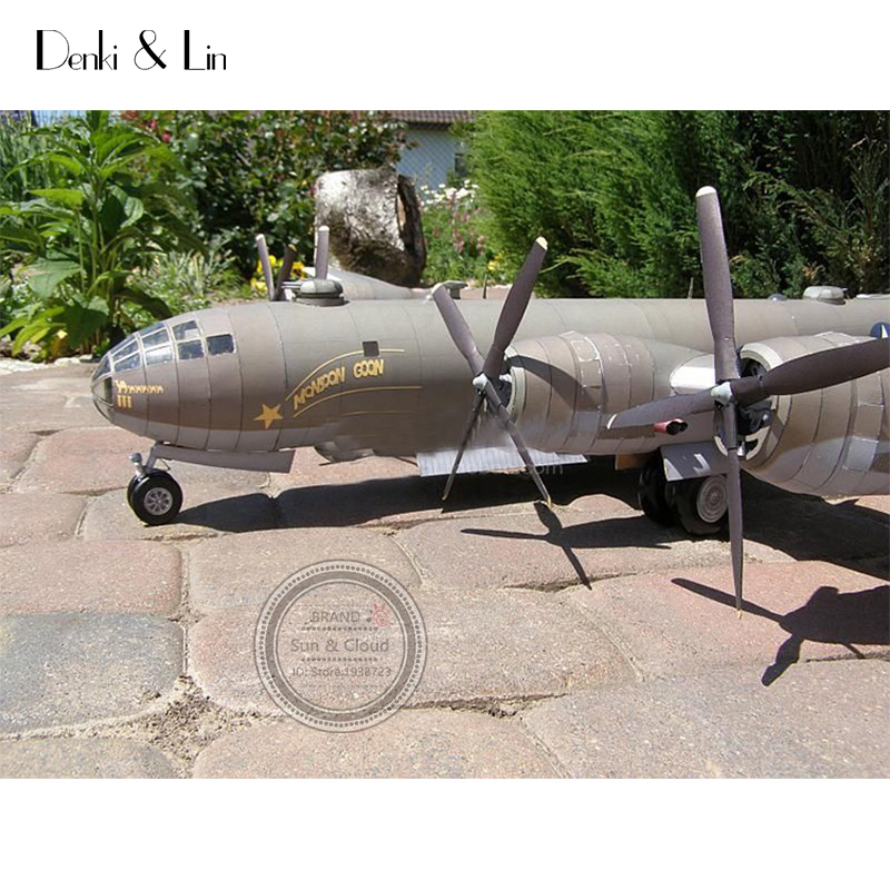 1:47 DIY 3D B29 Superfortress Bomber Plane Paper Model Assemble Hand Work  Puzzle Game DIY Kids Toy Denki & Lin