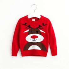 Christmas Kids Girls Knit Deer Sweaters 2016 Baby Girls Knitted Cartoon Pullover Girl Autumn Wool blends Jumper top kids clothes