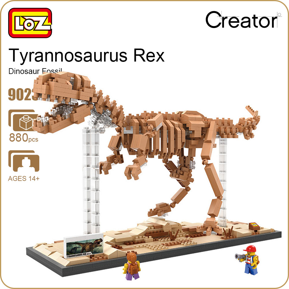 LOZ Building Blocks Tyrannosaurus Rex Fossil Fosiles T-Rex Skull Model DIY Assembly Toys Assembling Dinosaur Skeleton Nano 9023 big one simulation animal toy model dinosaur tyrannosaurus rex model scene