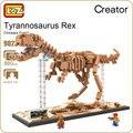 Loz bloques de construcción de los animales fósiles de dinosaurio tyrannosaurus figuras fosiles dinosaurios t-rex skull modelo asamblea diy juguetes 9023