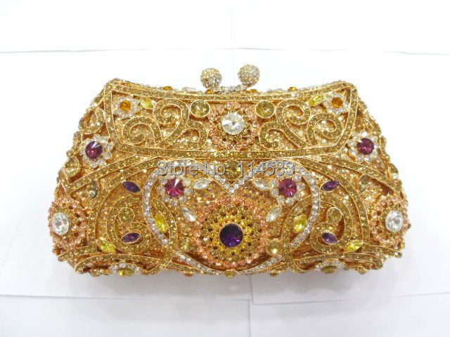 #8131 - TC Crystal Flower Floral Gold Bridal Party hollow Metal Evening purse clutch bag handbag case