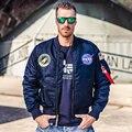 НАСА Куртка Мужчины Женщины Бомбардировщик Вышивка Пальто Alpha Industries Рейса MA-1 Военный Летчик Куртки Толстые Теплые НАСА Куртка