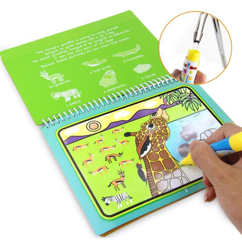 Cartoon Coloring Magic Water Drawing Book+1 Pen Reusable Painting Book Kids Recognize Learning Doodle Write Draw Board Toy