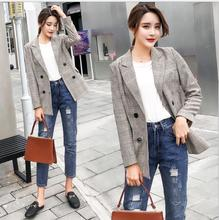 THYY 2018 Long Plaid Spring Autumn Coat Blazer Women Suit Ladies Refresh Blazers Comfortable Women's Blazers Free Shipping A810