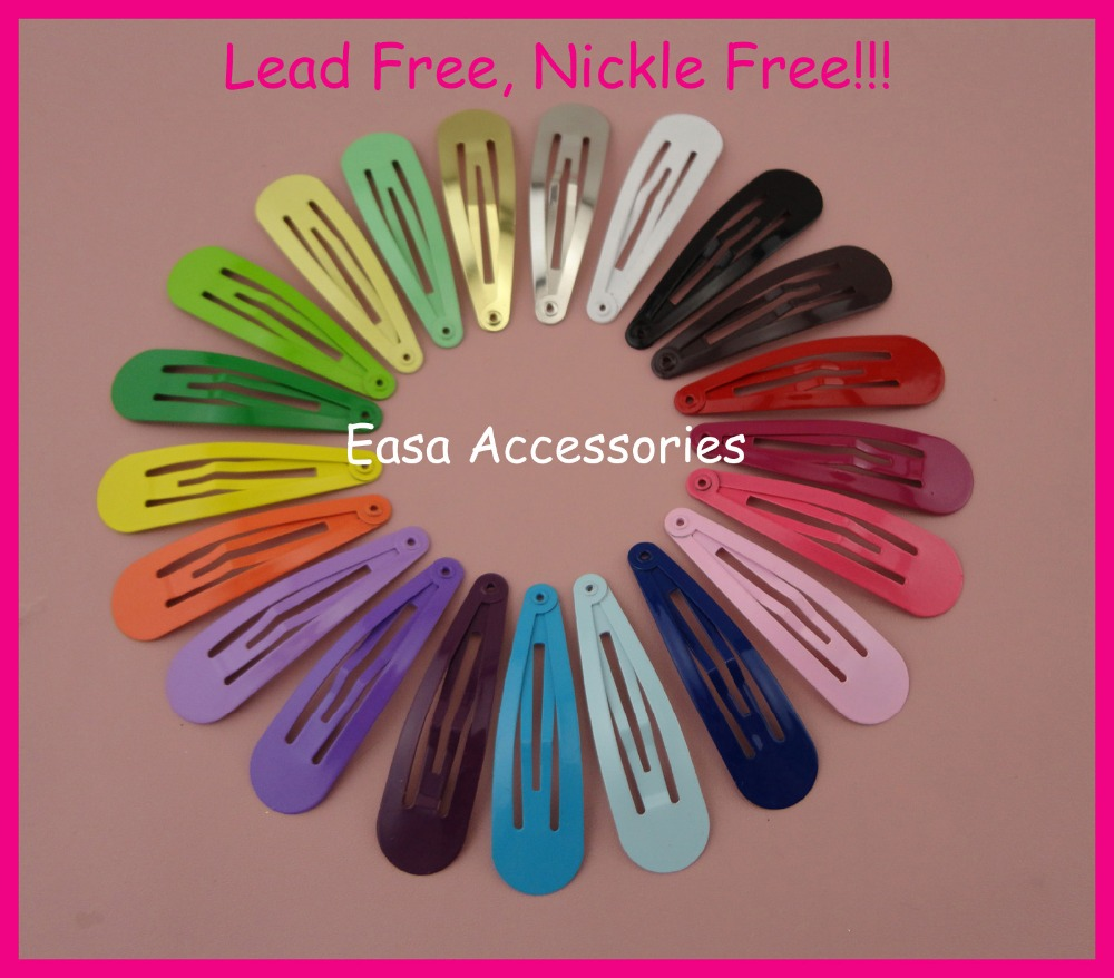 50PCS  5.0cm 2.0  Assorted colors Tear Drop Shape Round Head Plain Metal Snap Hair Clips NO hole at nickle free and lead free