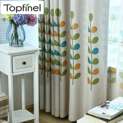 Topfinel rysunkowe liście zasłona zaciemniająca do salonu sypialnia dzieci pokój dziecięcy ozdoba okna wykończona Home Decor