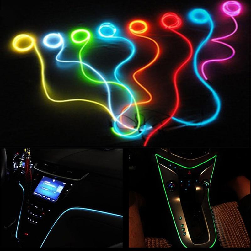 Auto 2m clamping-edge Flexible Neon Car Decorate With Cigarette lighter Drive For Hyundai Solaris ix35 i30 ix35 Accessories 2m auto interior refit light clamping edge el wire flexible neon car decorate with cigarette lighter drive for audi bmw benz vw