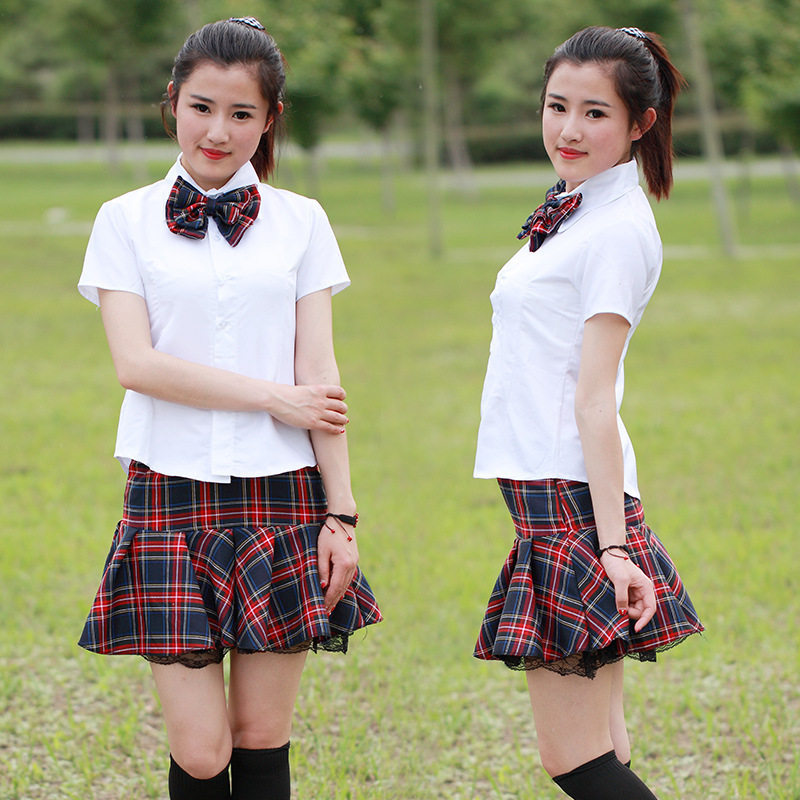 Hot Sales High Quality School Uniform White Skirt Bow Charming Tie Red Plaid Skirt Student Graduation Photo Props Clothing