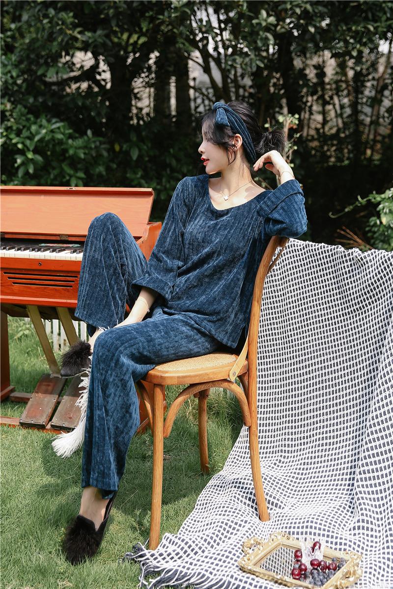 Flannel Pajamas Set Women Night Wear Pyjamas For Lady O Neck Sexy ... c4aa473d7
